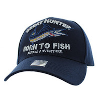 VM589 GREAT HUNTER BORN TO FISH Velcro Cap (Solid Navy)