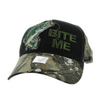 "VM711 ""Bite Me"" Mesh Trucker Cap (Black & Hunting Camo)"