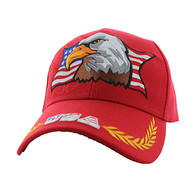 VM140 American USA Eagle Velcro Cap (Solid Red)