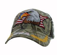 VM140 American USA Eagle Velcro Cap (Solid Hunting Camo)