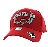 VM603 Route 66 Classic Car Velcro Cap (Solid Red)
