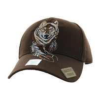 VM694 Native Pride Wolf Velcro Cap (Solid Brown)