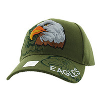 VM129 American USA Eagle Velcro Cap (Solid Olive)