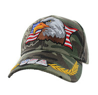 VM140 American USA Eagle Velcro Cap (Solid Military Camo)