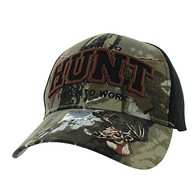 VM181 Born to Hunt Forced to Work Velcro Cap (Hunting Camo & Black)