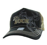 VM787 Big Buck Hunt Velcro Cap (Black & Hunting Camo)