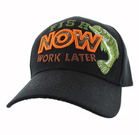 """VM195 """"FISH NOW WORK LATER"""" Velcro Cap (Solid Black)"""