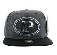 SM794 Pittsburgh City Snapback Cap (Charcoal & Black)