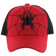 VM428 Kids Spider Cotton Velcro Cap (Red & Black)