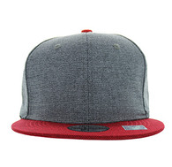 SP1622 Blank Cotton Snapback Cap (Charcoal & Red)