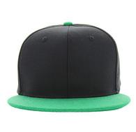 SP1622 Blank Cotton Snapback Cap (Black & Kelly Green)