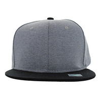 SP1622 Blank Cotton Snapback Cap (Grey & Black)