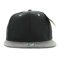 SP007 Blank Cotton Snapback Cap (Black & Grey PU)