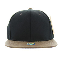 SP007 Blank Cotton Snapback Cap (Black & Brown PU)