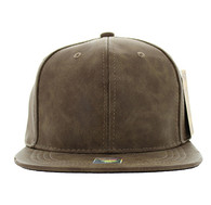 SP007 Blank Snapback Cap (Solid Brown PU)