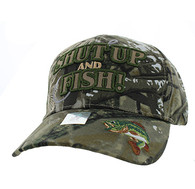 VM199 Shut Up and Fish Velcro Cap (Solid Hunting Camo)