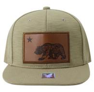 SM863 Cali Bear Snapback Cap (Khaki & Khaki)