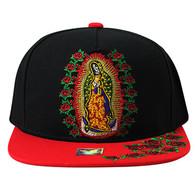 SM309 Guadalupe Rose Snapback Cap (Black & Red)