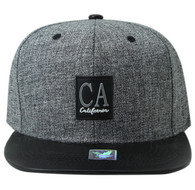 SM859 California Cotton Snapback Cap Hat (Grey & Black)