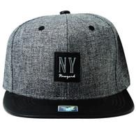 SM859 New York City Snapback (Charcoal & Black)