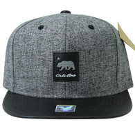 SM859 California Bear Cotton Snapback Cap Hat (Grey & Black)