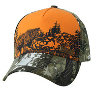 VM857 Hunting Bear Velcro Cap (Orange & Camo)