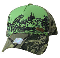 VM857 Fishing Bass Velcro Cap (Green & Camo)