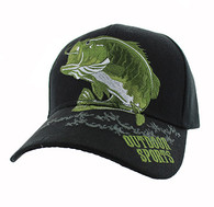 VM207 Big Bass Outdoor Sports  Velcro Cap (Solid Black)
