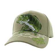 VM207 Big Bass Outdoor Sports  Velcro Cap (Solid Khaki)