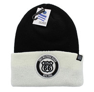 WB181 Route 66 Long Beanie (Black & White)