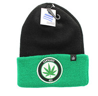 WB181 Marijuana Long Beanie (Black & Kelly Green)