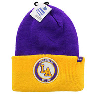 WB181 Los Angeles Long Beanie (Purple & Gold)
