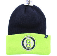 WB181 Seattle Long Beanie (Navy & Lime)