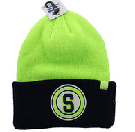 WB181 Seattle Long Beanie (Lime & Navy)