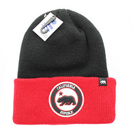 WB181 Cali Bear Long Beanie (Black & Red)