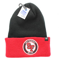 WB181 San Francisco Long Beanie (Black & Red)