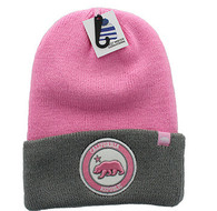 WB181 Cali Bear Long Beanie (Light Pink & Grey)