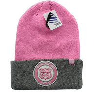 WB181 Route 66 Long Beanie (Light Pink & Grey)