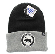 WB181 Cali Bear Long Beanie (Black & Grey)