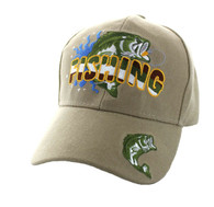 VM207 Big Bass Fishing  Velcro Cap (Solid Khaki)