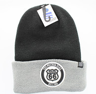 WB181 Route 66 Long Beanie (Black & Grey)