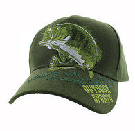 VM207 Big Bass Outdoor Sports  Velcro Cap (Solid Olive)