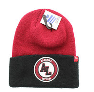 WB181 Alabama Long Beanie (Burgundy & Black)