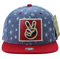 SM809 Marijuana Snapback Cap (Navy & Red)