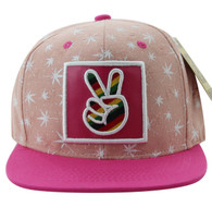 SM809 Marijuana Snapback Cap (Light Pink & Hot Pink)