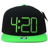 SM597 Marijuana 4:20 Snapback (Black & Lime)