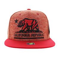 SM616 California Republic Snapback (Red & Red)