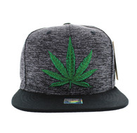 SM616 Marijuana Snapback Cap (Heather Grey & Black)