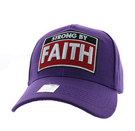 VM606 Strong  By Faith Christian Baseball Velcro Cap Hat (Solid Purple)