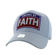 VM606 Strong  By Faith Christian Baseball Velcro Cap Hat (Solid White)